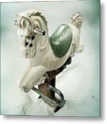 White Toy Horse Metal Print
