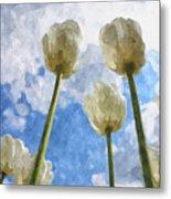 White Tulips And Cloudy Sky Digital Watercolor Metal Print