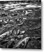 White Water Bw Metal Print