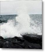 White Waves Black Rocks Metal Print