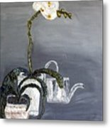 White Wild Orchid Metal Print