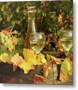 White Wine And Grape In Vineyard Metal Print