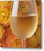 White Wine And Yellow Roses Metal Print
