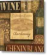 White Wine Collage Metal Print by Grace Pullen