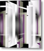 White With Purple Trim Metal Print