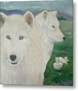 White Wolves Guarding Their Pups Metal Print