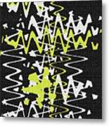 White Yellow On Black Metal Print