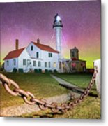Whitefish Point Lighthouse   Northern Lights -0524 Metal Print