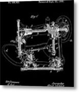 Whitehill Sewing Machine Patent 1885 Black Metal Print