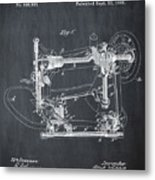 Whitehill Sewing Machine Patent 1885 Chalk Metal Print
