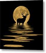 Whitetail Deer In The Moonlight Metal Print
