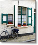 Whitewashed Brick House With Green Trimmed Shutters In Bruges Metal Print