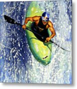 Whitewater Kayaker Metal Print