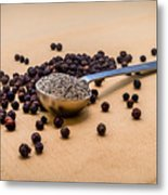 Whole Black Peppercorns With A Heaping Teaspoon Of Ground Pepper Metal Print