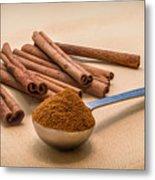 Whole Cinnamon Sticks With A Heaping Teaspoon Of Powder Metal Print