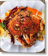 Whole Cooked Dungeness Crab With Peanut Sauce And Spices On Whit Metal Print