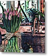 Wicker Basket And Flowers Metal Print
