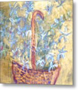 Wicker Basket Of Garden Flowers Metal Print