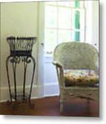 Wicker Chair And Planter Metal Print