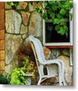 Wicker Rocking Chair On Porch Metal Print