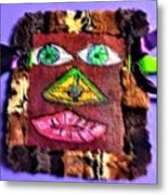Wide Eyed Loup Garou Mardi Gras Screen Mask Metal Print