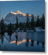 Wide Shuksans Last Light Reflected Metal Print