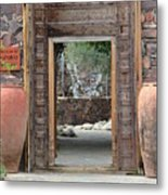 Wider Shot Stone Garden Wall And Clay Urns Metal Print