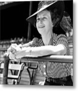 Wife Of The  The Arkansas Hummingbird Lon Warneke, Watches The Game From The Stands. 1939 Metal Print