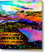 Wild And Crazy Mountainous Sunset Metal Print