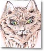 Wild- Brown Hair Cat Metal Print