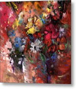 Wild Flowers Bouquet In A Terracota Vase Metal Print