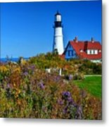 Wild Flowers Fading At The Portland Head Light Metal Print