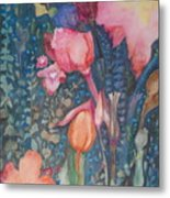 Wild Flowers In The Wind II Metal Print