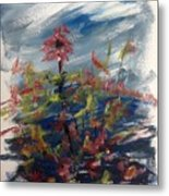 Wild Flowers On An Overcast  Day Metal Print