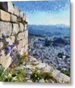 Wild Flowers On Loophole In Palamidi Castle Metal Print