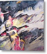 Wild Geese Flying In A Snow Storm Metal Print