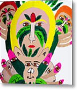 Wild Look Of The Green Plant Lady Metal Print