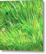 Wild Meadow Grass Structure In Bright Green Tones, Painting Detail. Metal Print