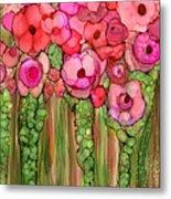 Wild Poppy Garden - Pink Metal Print