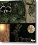 Wild Racoon And Deer Patchwork Metal Print