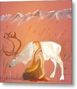 Wild Reindeer And Young Woman Becoming Friends - Poetic Painting Metal Print