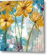 Wild Sunflowers- Art By Linda Woods Metal Print