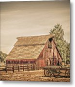 Wild West Barn And Hay Wagon Metal Print