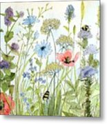 Wildflower And Bees Metal Print