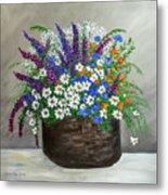 Wildflower Basket Acrylic Painting A61318 Metal Print