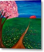 Wildflower Country Road Metal Print