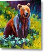 Wildflower Grizz Metal Print
