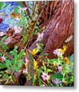 Wildflowers On A Cypress Knee Metal Print