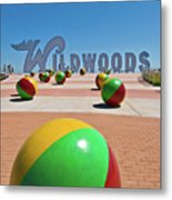 Wildwood's Sign, Wildwood, Nj Boardwalk . Copyright Aladdin Color Inc. Metal Print
