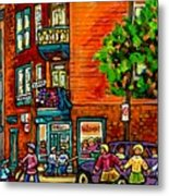 Wilensky Diner Little League Expo Kids Baseball Painting Montreal Scene Canadian Art Carole Spandau  Metal Print